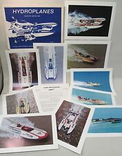 mint 1974 SET OF 10 HYDROPLANE BOAT full color photo prints w/letter & envelope