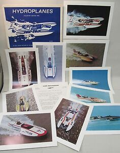 mint 1974 SET OF 10 HYDROPLANE BOAT full color photo prints w/letter & envelope
