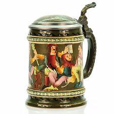 Simon Peter Gerz 1209 Antique German Mug Etched Lidded Beer Stein - Tavern Scene