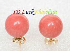 AAA natural Stud 8mm round pink coral earrings 14K gold post j8100
