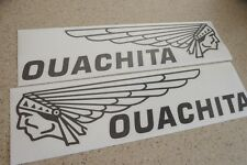 Ouachita Vintage Boat Decal Die-Cut Black 2-PAK FREE SHIP + Free Fish Decal!