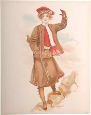 1908 Victorian Litho Print: Lady Hunter with Rifle/Gun