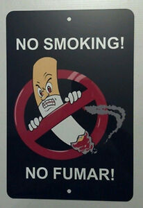 NO SMOKING NO FUMAR indoor/outdoor 8 x 12 aluminum modern warning caution sign