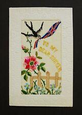 WW1 Silk Postcard Dear Sister Swift Swallow Bird The Gables Honiton Devon