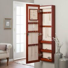 Jewelry Wall Mount Armoire LED Lights Storage Mirror Wood  Cherry Finish Lock