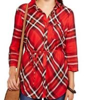 XL Womens Tunic Button Down Shirt FADED GLORY red plaid 3/4 SLEEVE 100% rayon