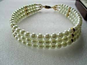"""VINTAGE FAUX PEARL 3 ROW  14 1/2"""" CHOKER  NECKLACE"""