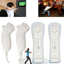 2 x Wireless Controller Remote+ 2xNunchuck+ 2x Case for Nintendo Wii WII U White