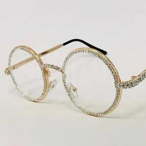 Diamond Bling Gold Metal Round Migos Raper Hip-Hop Eye Glasses Clear Sunglasses