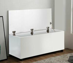 Ottoman Storage Chest White Toy Chest Bedding or Blanket Box Large Wooden White