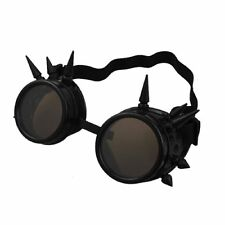Steampunk Goggles Black with Brown Lenses Spike Cyber Vintage Retro Glasses UK