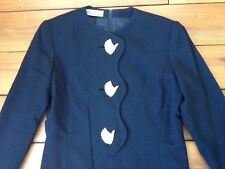 Vtg Ilie Wacs Black Formal Dress Amazing Brass Rhinestone Bird Buttons USA Made
