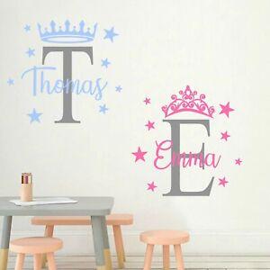 Personalised Prince Princess Bedroom Nursery Wall Art Sticker Decal