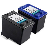 2pk Printronic For Hp 22 27 C8727AN C9352AN Black Color Ink Cartridge