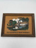 Vintage Framed Wooden Old Bushmills Irish Whiskey Advertising Sign