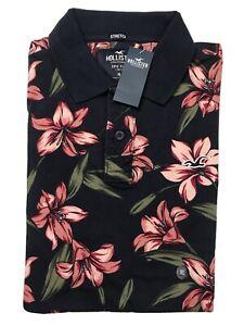 XL Hawaiian Floral Mens Blue & Peach Graphic Designed Hollister Polo Golf Shirt