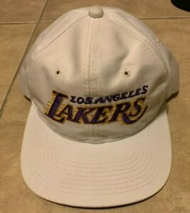 Vintage Los Angeles Lakers Sports Specialties Snapback White w/Purple Hat Motion