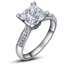 Princess Cut 2ct Diamonique CZ 925 Silver Women Engagement Wedding Band Ring Sz8