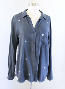 Cloth and Stone Anthropologie Slate Stamped Star Print Frayed Trim Shirt Top M