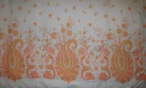 140 x 180 cms Vintage 1970s Poly Cotton ZANY PAISLEY Border Print Fabric