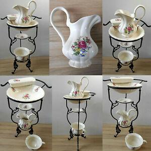 Bellissimo Bacino Con 5-teiligem Set Lavabo Decorazioni Rosa, Robusto Ceramica