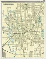 1901 Wall Map Indianapolis Art Poster Print Decor Vintage History Genealogy