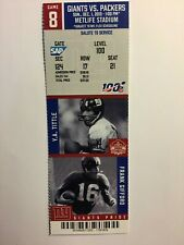NEW YORK GIANTS VS GREEN BAY PACKERS DECEMBER 1, 2019 TICKET STUB