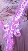 Baby Shower Mom To Be It's a Girl Sash Pink Pacifier Corsage Sash Mom To B