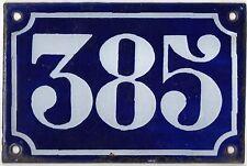 Old blue French house number 385 door gate plate plaque enamel metal sign c1900
