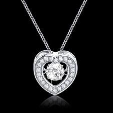 Halskette Silber Herz Dancing Stone Anhänger mit Swarovski Kristall 18K Weißgold