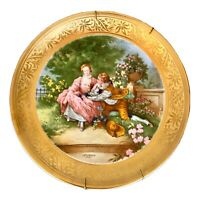 VintageJ. Kronester Bavaria Germany Incisione Oro Cabinet Plate Pictorial