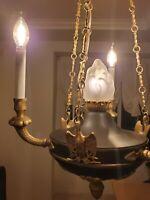 Antique French Guilt Empire Chandelier 3 Arm 4 Light Eagle Glass Flame Ceiling