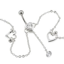 "14g 7/16"" Jeweled Heart Belly Button Ring with Drop Charm and Belly Chain"