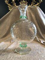 Vintage Italian Venetian Hand Blown Controlled Bubble Glass Vase Light Green