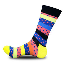 1 Pair Men Cotton Dress Crew Socks Warm Casual Colorful Stripes Dots Unisex 8-12