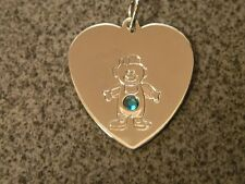 Cute Gold Tone, Heart with Baby Boy with Green Rhinestone, Pendant .|d|