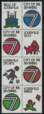 "Louisville ""City of the Seventies"" Cinderella Poster Stamps Pane 8 Mint Nh Stk2"