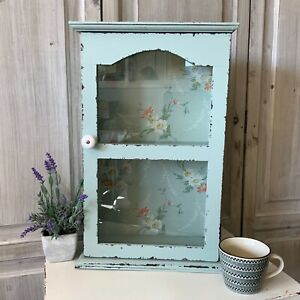 Shabby Painted Duck Egg Blue Wall Cabinet Cupboard Glass Door Vintage Chic Small