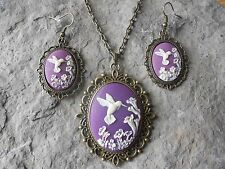 HUMMINGBIRD (PURPLE) CAMEO BRONZE NECKLACE AND EARRINGS SET-- GIFTS!!