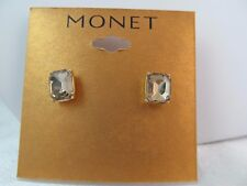 NWT MONET GOLD with GOLD RHINESTONE RECTANGLE PIERCED EARRINGS, Sparkly,