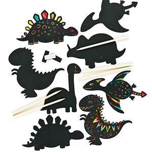 5 DINOSAUR Scratch Art Fridge Magnets Kids Craft Art Birthday Gift Set Activity