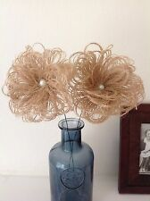 3 x Hessian (Burlap) Swirl Flowers on Stems with Pearls Vintage Shabby Chic