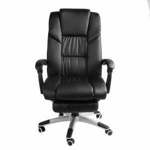 Executive Black Office Chair PU Leather Swivel High Back Ergonomic Computer Desk
