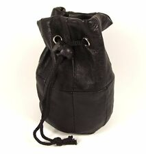 Black Real Leather Pouch Drawstring Wrist Bag Coin Purse Change Small