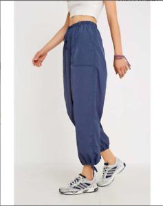 Urban Outfitters Voluminous Nylon Lightweight Jogger Trousers Blue M UK 10 NEW