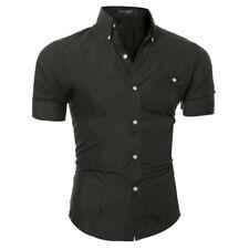 Mens Short Sleeve Shirt Plain Cotton Classic Collar Business Formal Casual Shirt