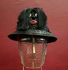 Men's Hat 50's Black Raffia Blackamoor Made In Italia Straw Poker Novelty