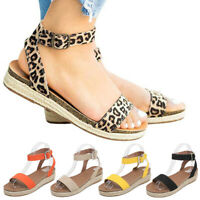 Women's Ankle Strap Flatform Ladies Wedges Shoes Espadrilles Platform Sandals