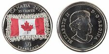 Canada 25 Cents, 4.4 Gram Coin, 2015, Mint, 50th Anniversary Canadian Flag,QE II