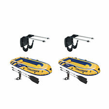 Intex Boat Mount Kit & Inflatable Raft Boat Set With Pump And Oars (2 Pack)